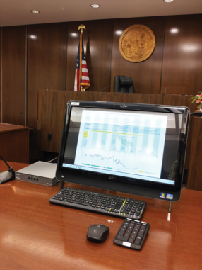 Courtroom with touch screen computer set up