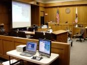 Technology setup in the courtroom