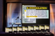 Standard Definition Projector and Monitors displaying text